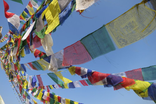 You'll find these flags strung everywhere in Nepal. They are Buddhist prayer flags. On them are mantras and prayers. When touched by the wind, they send the good fortune and peace promised in them to all those who feel the same breeze. I love this.  As I watched the flags sway softly in the wind, I said my own prayer that I would return to Nepal again someday. As the same wind touched my cheeks, I felt the peace of knowing, in my heart, that this was a promise that would be kept.