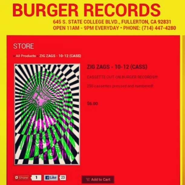 "So stoked! Out today our cassette ""10-12"" on @burgerrecords4life ! Limited to 250 copies (hand-numbered) get 'em now at their shop or online at www.burgerrecords.org"