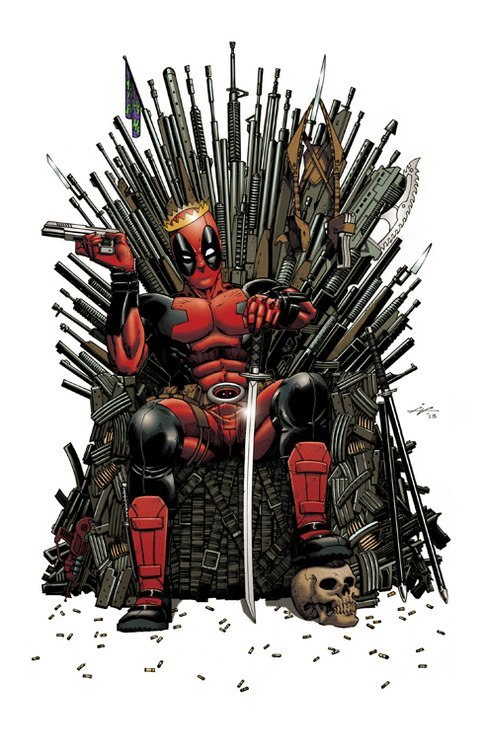 ed-pool:  Deadpool on the Iron Throne of guns! Any Questions?   The King is here. Class dismissed.