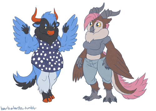 sometimes you just gotta draw a furry yak+blue magpie and horned owl+chinese dragon