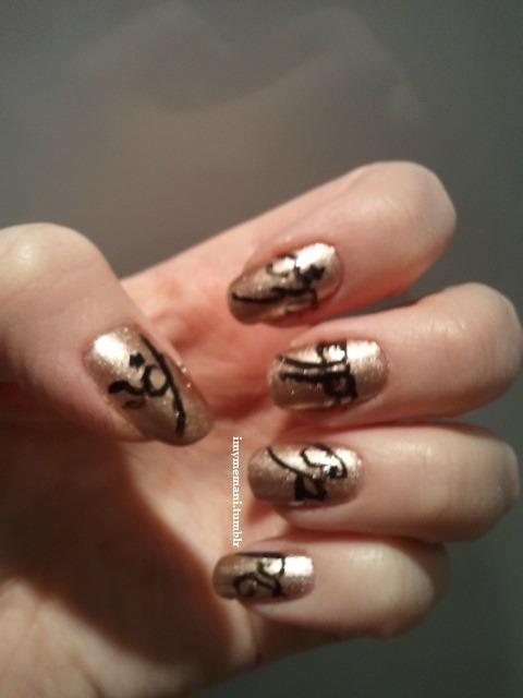 WILDLY BLURRY ONE RING NAILS! I did this for the advanced viewing of the Hobbit.