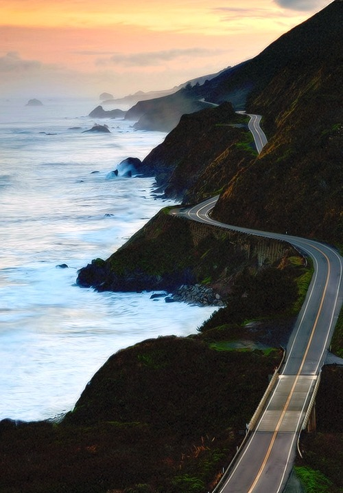 bluepueblo:  Sunset, Highway 1, Marin County, California photo via elves