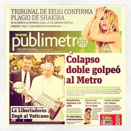 #Shakira culpable de #plagio #colapsoenelmetro en www.publimetro.cl