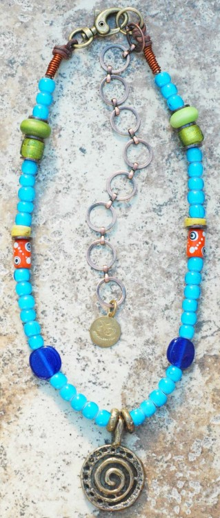 Custom Blue Skies Necklace: Long African Inspired Turquoise Blue Glass Spiral Pendant Necklace