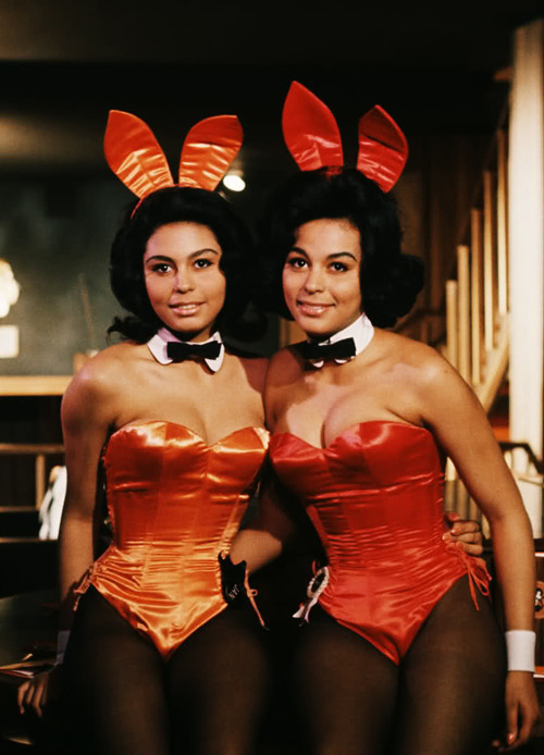 vintagegal:  Jennifer Jackson (right) (Miss March 1965) pictured with her twin sister Janis when they worked as Bunnies at Chicago's Playboy Club