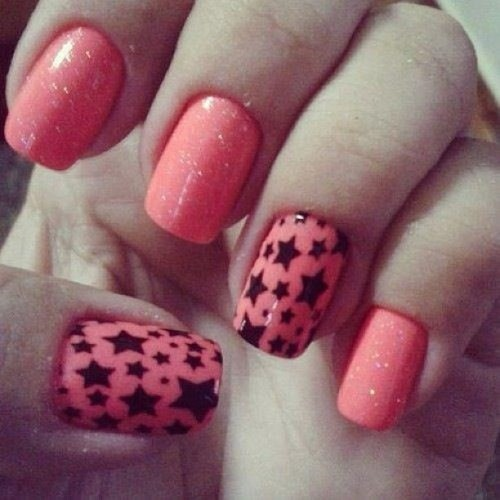 Good morning ! #nails #nailart #morning #goodmorning #cute #pretty #stars #coral #pink #color #love #igdaily #morning #fashion #style #trend #followme #lb