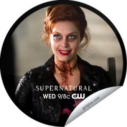 Don't forget to check into GetGlue during tonight's NEW episode of 'Supernatural' to pick up this lovely sticker of a red headed memeber of the Knights of Hell. She may be dead (-ish) but she'll never be forgotten! See what happens when Heaven, Hell, Winchesters, and Castiel collide (other than explosions of awesome) Wednesday 9/8c on The CW.