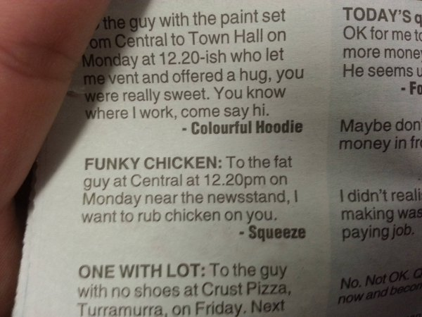 collegehumor:  Anonymous Admirer: Funky Chicken It's not a conventional sort of love, but it's one I can understand.
