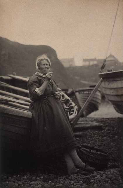 ourwildways:  'At Auchmithie 1881'. Woman leaning against boat by National Galleries of Scotland Commons on Flickr. out to sea