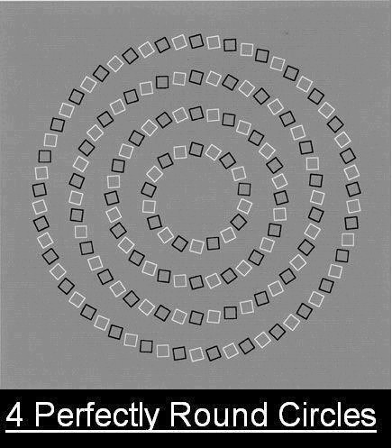 4 perfectly round circles (optical illusion)
