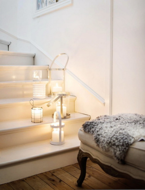housesanddesign:  Pretty candle lanterns adorning a stairway