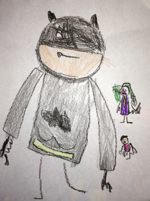 thedaddycomplex:  Boone's drawing of Batman, Robin and the Joker. He traced a roll of duct tape to make Batman's head, but the rest he drew freehand. And for the record, I didn't help him with this other than to tell him how to draw the Batman's cowl.