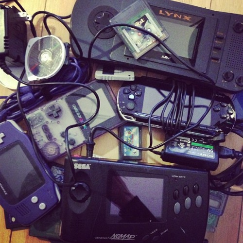jhonenv:  Happened upon the handheld section of my gaming graveyard. They say if you listen carefully you can still hear them booping.