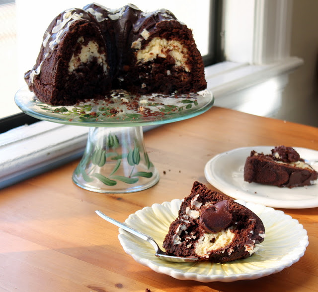 gastrogirl:  chocolate bundt cake with coconut filling and chocolate ganache.