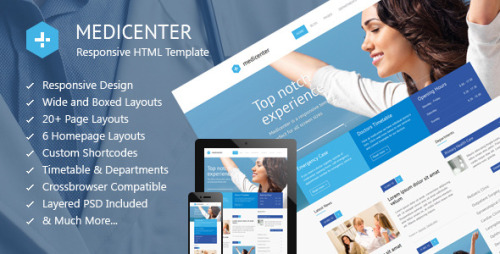 MediCenter – Responsive Medical Health Template MediCenter is a responsive HTML template suitable for medical or health related projects or businesses. Template is maintained in a minimalist and modern style with strong blue accents. Template comes with wide and boxed layout – both fully responsive and optimized for all kind of devices. Template is crossbrowser compatible. Home page is based on wide slider that scales to any width and looks perfect on mobile devices. Home page has 6 different layouts. Style 1 comes with blog and departments accordion while the other home page styles contains more descriptive components such as a features lists, carousels, pricing lists, call to action boxes etc. The home page is also available with small slider and hero unit. The template comes loaded with more then 20 different page layouts including blog with comments, about page, team page, departments page, timetable or schedule page, gallery with different layouts together with single photo page and a contact page. An extensive collection of shortcodes lets you build subpages by using the existing components. ZIP file contains PSD source files: complete PSD template plus all of the icons used within a project in full PSD vector!