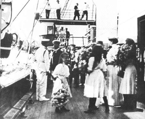 Nicholas II, Empress Alexandra and their daughters aboard the Standart: 1908.