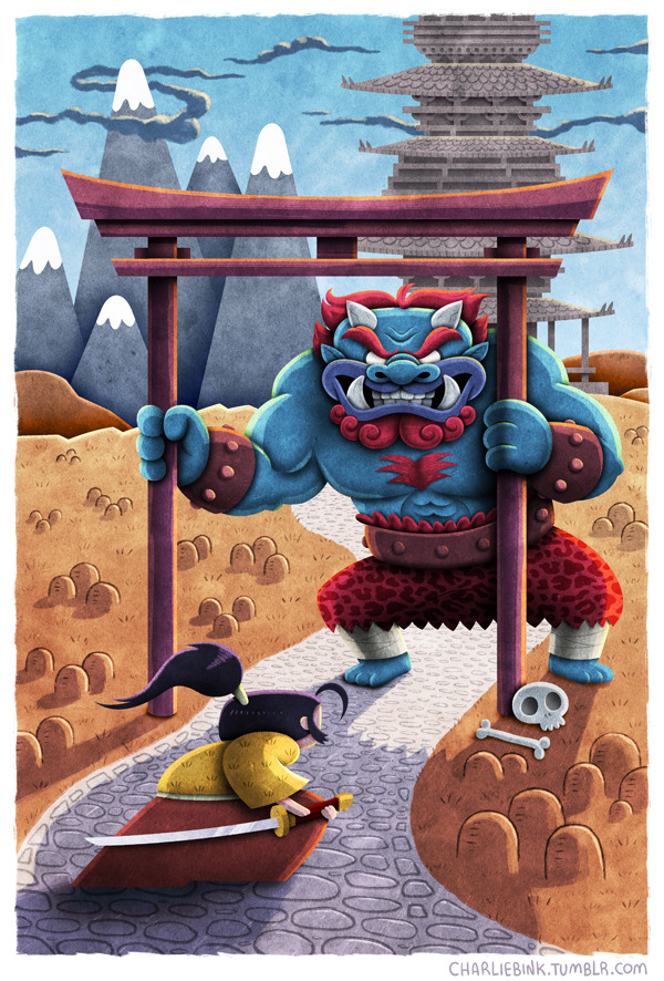 """Oni"" - A new print available at my Etsy shop. Aw what the hell, I'm feeling cheerful today… Reblog this post for a chance to WIN A FREE PRINT! I'll randomly select one reblogger on Wednesday Feb 20th. Good luck!"
