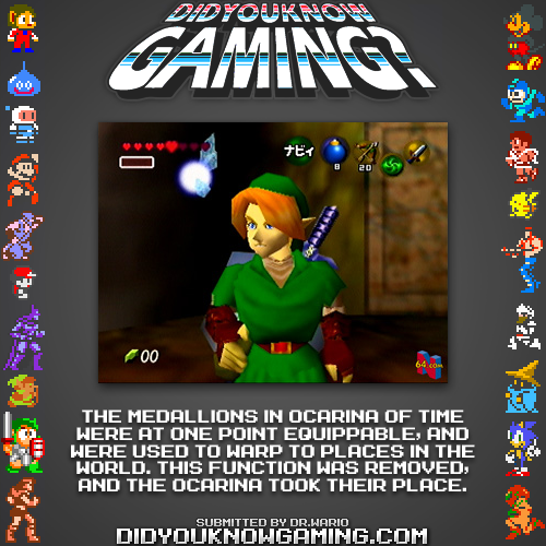 didyouknowgaming:  The Legend of Zelda: Ocarina of Time.  Source.