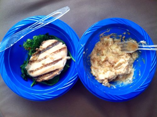 Today's lunch! Grilled chicken, spinach, broccoli, carrots and PB mixed with banana :)