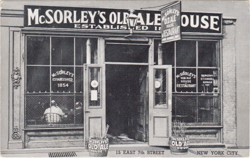 Vintage postcard of McSorley's Old Ale House in Greenwich Village