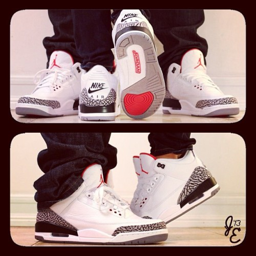 "The ""done before"" Jordan 3 couples shots done in our own way with my girl. Happy Valentin's day #peasandcarrots #peas&carrots #love #mynikes #jordans #jordan3 #jordaniii #slamdunk #valentine #valentines #valentinesday #sneakerhead #wdywt #daretofly #xx8daysofflight #solecollecter #nikedrugs23 #addicted2soles #igsneakercommunity #j3 #sneakernews #soletoday #nike #jordan #cement #airjordan3 #airjordan #sandiego @viperrjenn"