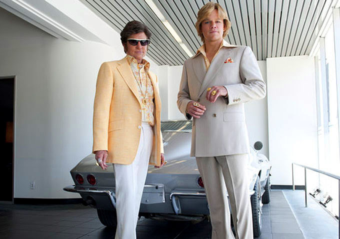 Matt Damon and Michael Douglas on movie set of Behind the Candelabra