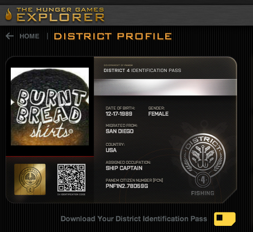 So we signed into our HungerGamesExplorer account last night only to find that we are in fact originating from District 4!Nothing could contain our joy…. especially after seeing that Catching Fire trailer last night!