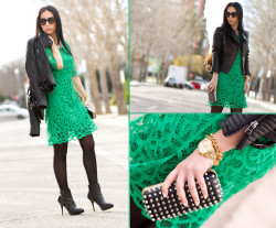 lookbookdotnu:  WORLDWIDE Giveaway!!!  - EMERALD CROCHET DRESS (by WOWS       .)