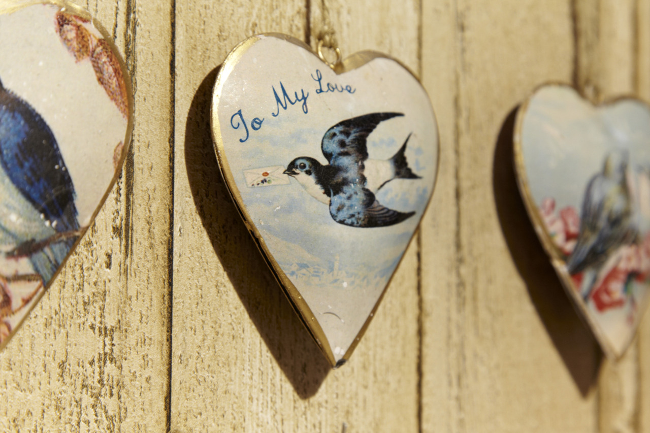 Our 'To My Love' vintage swallow heart decoration £3.75