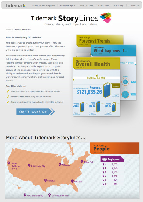 Tidemark's cloud-based analytics includes Storylines, an infographic-style display of various scenarios using company data and assumptions. Looks very cool. Read this Quentin Hardy piece that mentions them.