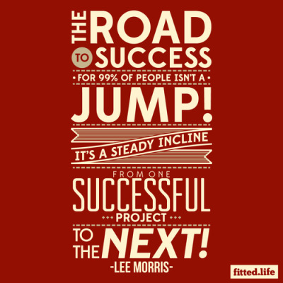 """The road to success for 99% of people isn't a jump, it's a steady incline from one successful project to the next."" - Lee Morris of Fstoppers Typography by Mike Cabuco of Fitted Life"
