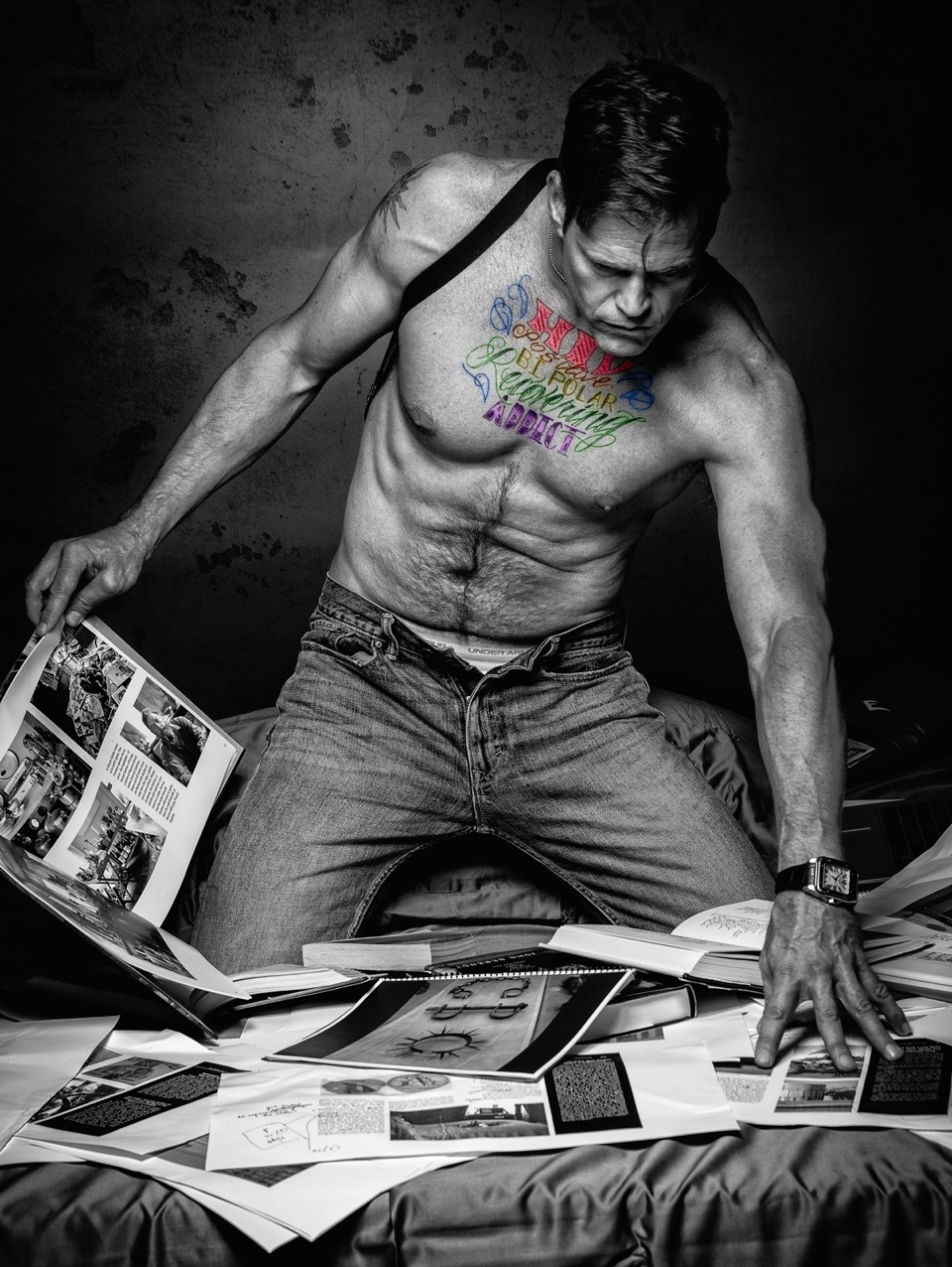 """Morgan Molthrop, a former Wall Street executive, had the words """"HIV Positive / Bipolar / Recovering Addict"""" tattooed on chest to disclose his bipolar disorder, addiction and HIV. He had a portrait made of his tattoos, which he shared with us at POZ, and asked us to help him spread the word about his disclosure. Here is his story."""