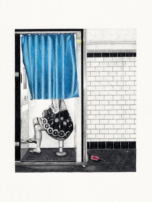 "brenluke:  ""Photo Booth, Paris""Graphite & coloured pencil on paper20x17cm"