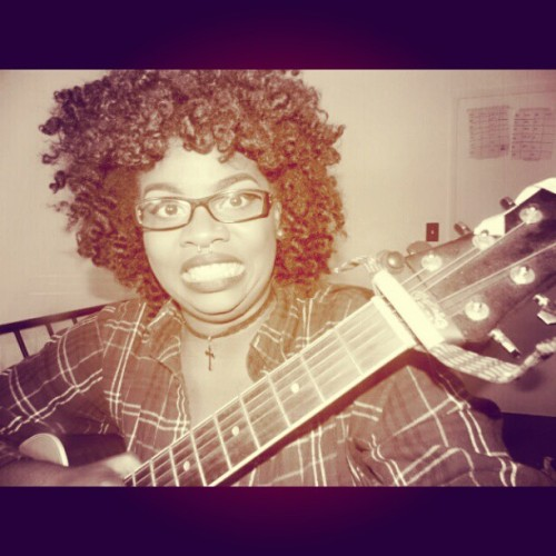 Me being supa kawaii wit my guitar #me #kawaii #afro #naturalhair #curlyfro