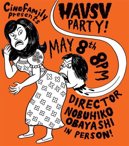 FOR LOS ANGELES PEOPLE: Hausu screening happening tomorrow night… with Nobuhiko Obayashi in person!Details are here. Poster by our friend, Johnny Ryan