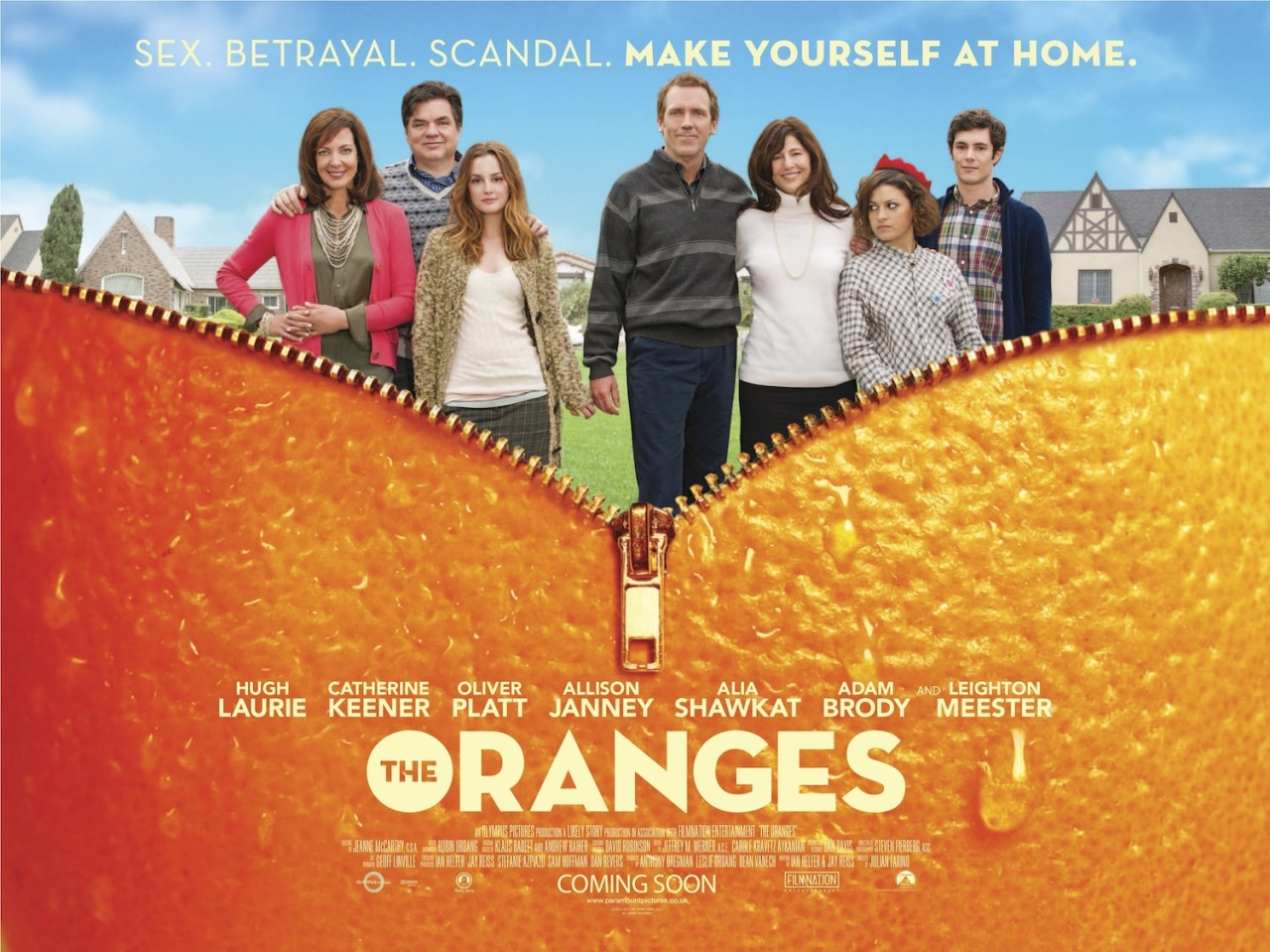 "The Oranges (2011)  The enduring friendship between the Walling and Ostroff families is tested when Nina, the prodigal Ostroff daughter, returns home for the holidays after a five-year absence and enters into an affair with David, head of the Walling family.  Spoilers:I am working on a screenplay all of this month, and for some reason today, I just cannot write. I keep hitting a brick wall. So I decided to watch this film. I have been wanting to watch it for a while, and now I understand why this wasn't on a wider release in the cinema and DVD. Good God it was rubbish!!!!! The ""friendship"" between the two families wasn't shown enough for me to care, I couldn't care less about them. Then, there was the romance. It was so gross because hot he may be, that Hugh Laurie, but come on…they have Adam Brody in the film!! They did not utilise him at all. There was zero chemistry between Leighton Meester and Hugh Laurie…they looked awkward. It wasn't fun watching them kiss (barf!!). I wanted them to break up immediately, before Adam Brody could find out about it (he had a minor role, came in the beginning of the film only to bugger off to China and then appear again at the end of the film). Why do people make such rubbish movies? I am pretty sure, this story did not look good on a screenplay either.  Such a great cast, and so wasted here. Anyway, the movie sucked but my writer's block seems to have lifted, so I am going to waste no time, and get back to my script!"