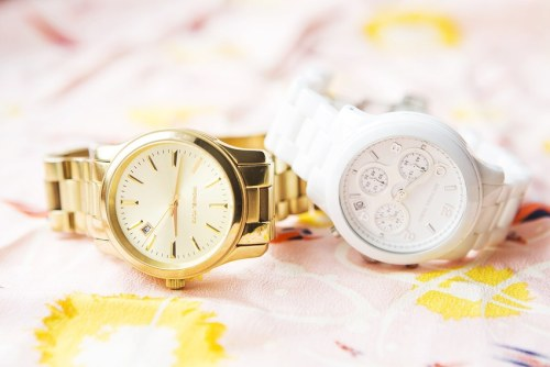 Michael Kors Slim Runway Gold Watch / Michael Kors White Ceramic Watch [source: gary pepper]