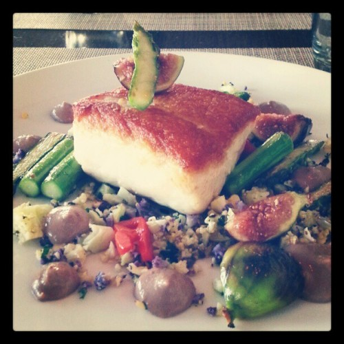 Chef Victor's California white seabass, served at Carbon Beach Club in the Malibu Beach Inn.