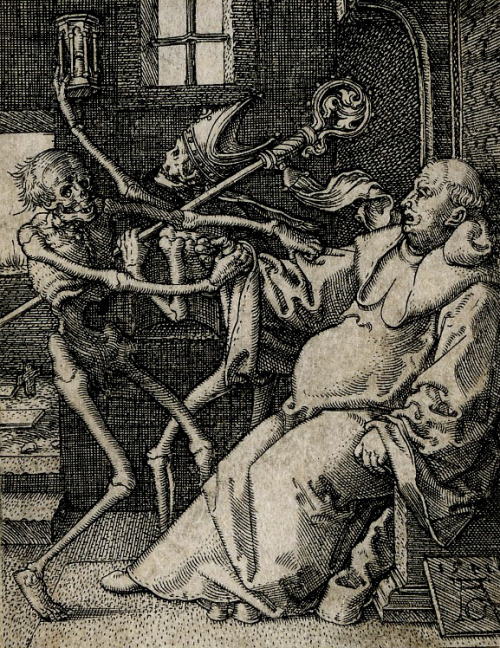 "booksandbeers:  sakrogoat:  Heinrich Aldegrever  ""These skeletons are fucking bullshit."""