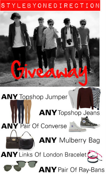 stylebyonedirection:  TO WIN: Must follow: x | x | x Once you follow my twitter, @reply me your tumblr URL so I can keep track! Reblog 15 times a day max! Winner chosen March 31st! Good luck babes! x