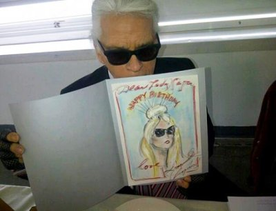 Karl Lagerfeld gifted Lady Gagawith a homemade birthday card.