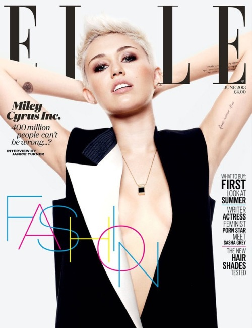 mileyfloyd:  Miley on the cover of the June issue ELLE UK! GORGEOUS