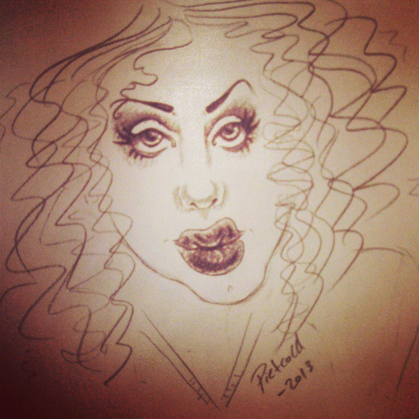 Tied to draw a sassy drag queen #drag #queen #dragqueen #drawn #drawing #art #fun