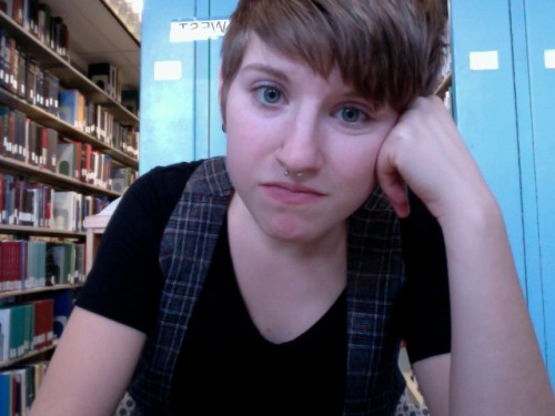 "vikingviking:  This my my library face.  And also my ""I'm eating a brownie"" face. I should be doing homework or something but instead I'm laughing at OkCupid and trolling tumblr."