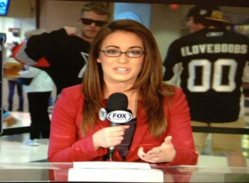 Guy Wears I Love Boobs Jersey on Fox News Bill O'Reilly will avenge her. Mark my words for him.
