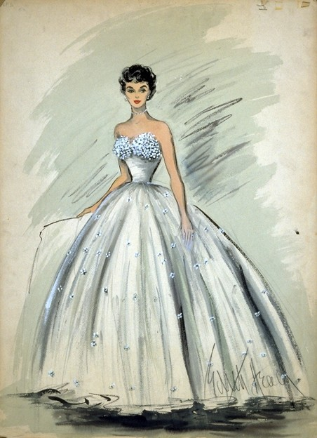 Vintage Tuesday: Great films, Great Costumes.  Sketches by Edith Head, the Golden Age costume designer.  Costume for Elizabeth Taylor in 'A Place in the sun'