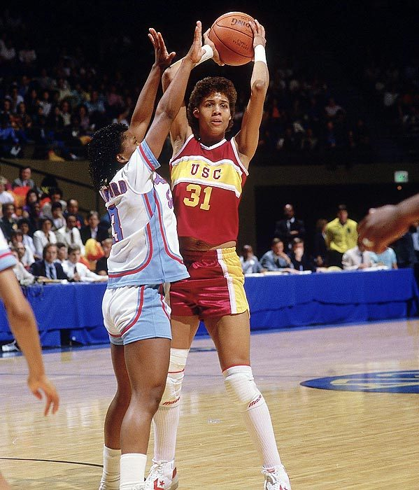 Cheryl Miller gained fame in high school for scoring 105 points in a game, and became one of the all-time greats at USC. She was a three-time Naismith Player of the Year winner and led the Trojans to two national titles. (Peter Read Miller/SI) GALLERY: Greatest College Athletes of All Time