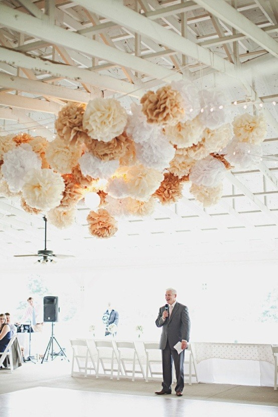 bride2be:  string lights + pom pom wedding decorations… inexpensive, but with a huge impact here's a little diy video on youtube of how to make your own wedding pom poms