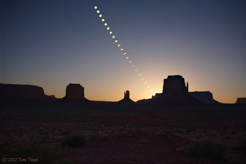 cometsmeteoroids:  Ring of Fire over Monument Valley Image Credit & Copyright: Tunç Tezel (TWAN)