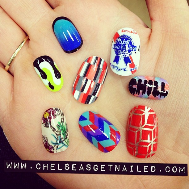 More nail school boredom…which design should I paint on my nails next? 😃 #chelseagoestonailschool #nailart